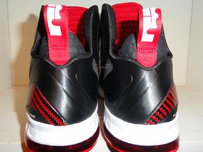 nike lebron 9 ps elite black white red away pe 2 03 First Look at Nike LeBron 9 PS Heat Away PE... Off James Feet