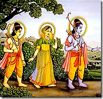 Rama, Sita and Lakshmana in the forest