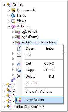 New Action context menu option on an action group for Orders controller.