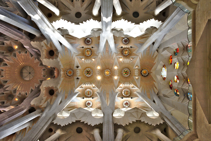 The canopy like roof of Sagrada Familia, Barcelona, Spain.