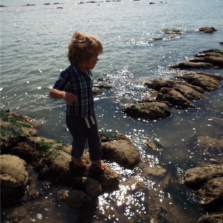 bare feet on the rocks