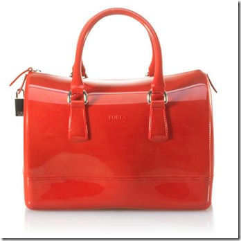 Furla Candy Rubber Satchel Red Handbag