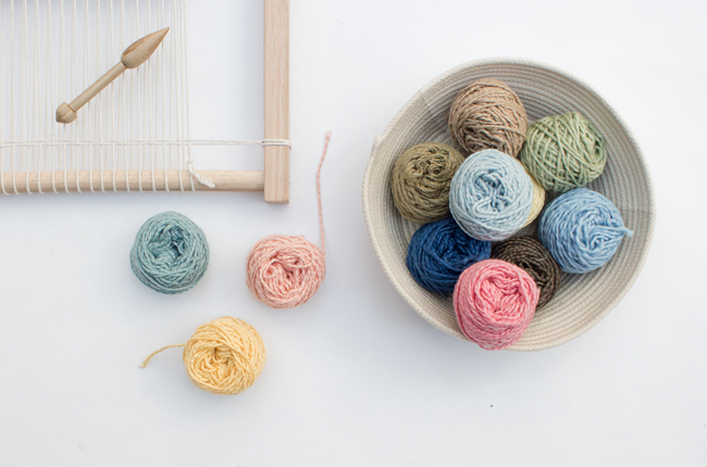 Plant dyed yarns for Eco Weaving Kit by Alchemy