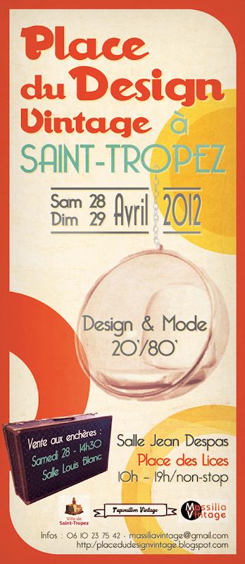 Affiche place du design vintage a st tropez