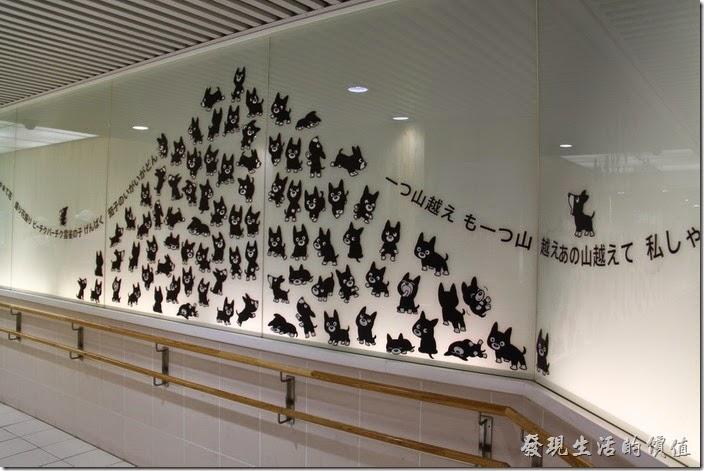 日本北九州-熊本電車。買好了一日乘車卷之後,要經過地下道才會到達搭乘電車的地方,這地下道有好多可愛貓咪的圖案。