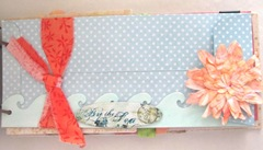 Beach journal front blue polka dot envelope wave and flower