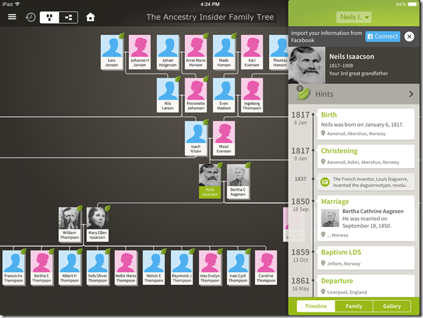 The Ancestry App family view and individual timeline