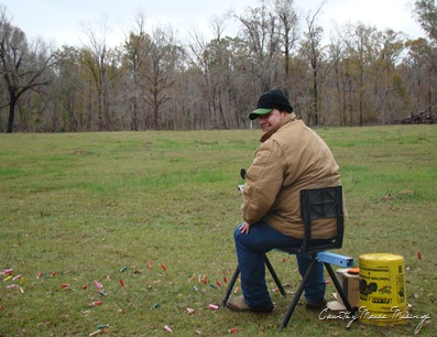 Jacob manning the skeet trap