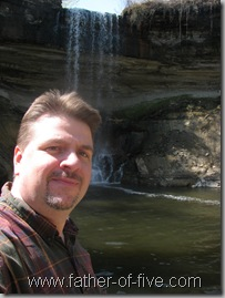 One ugly mug photo - taken from the Base of the Minnehaha Falls plunge pool from the ILLEGAL vantage point!