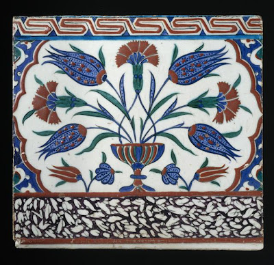 Tile | Origin: Turkey, Iznik | Period:  circa 1580-90 | Collection: Purchased with funds provided by Phil Berg (M.2000.31) | Type: Ceramic; Architectural element, Fritware, underglaze painted, 11 1/4 x 12 x 5/8 in. (28.58 x 30.48 x 1.58 cm)