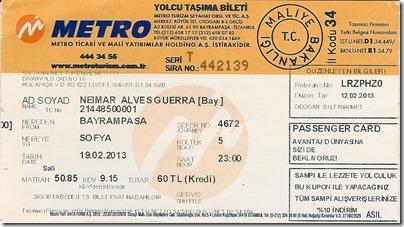Bilhete de ônibus entre Istambul e Sofia