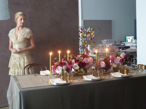 Starting to shoot our table, with candles glowing, and our model ready to walk through the frame.