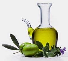 Oliera vetro trasparente con olive erbe