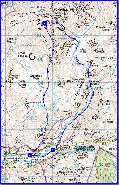 Our route - approx 17km with around 900 to 1000 metres ascent, in a little over 6 hours
