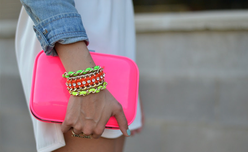 Neon details, Zara TRF clutch, Zara neon, Handmade bracelets
