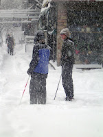 Skiiers on 1st Avenue