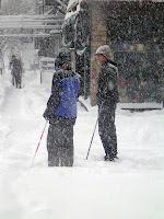 Skiiers on 1st Avenue