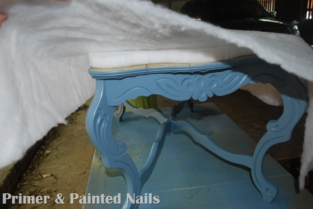 Curb Coffee Table During Cushion - Primer & Painted Nails