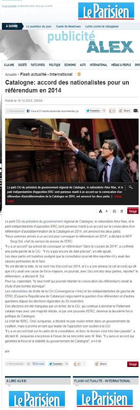 Accòrd CiU e ERC pel referèndum d'independéncia 18122012 LeParisien