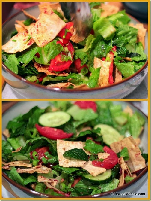 Fattoush Salad tossing
