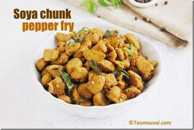 Soya chunk pepper fry