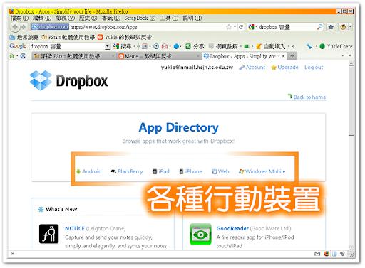 各種與 Dropbox 合作的行動裝置程式