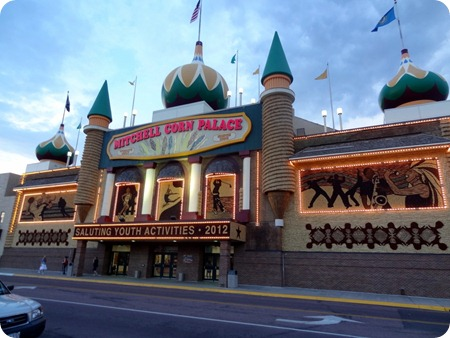 Corn Palace at night.