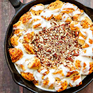 Skillet Cinnamon Rolls with Salted Caramel & Pecan Cream Cheese Dip