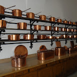 pots and pans in the kitchen of neuschwanstein castle in Füssen, Bayern, Germany