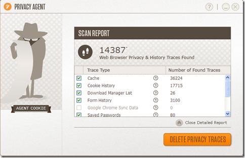 Privacy Agent risultati scansione e cancellazione tracce internet