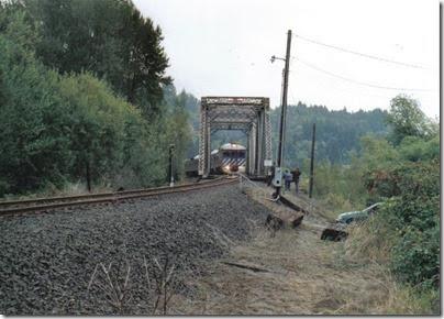 Lewis & Clark Explorer crossing the Clatskanie River drawbridge at Clatskanie, Oregon on September 24, 2005