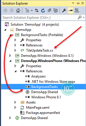 3. Add the project DLL reference of Windows Runtime Component (Background Tasks) project