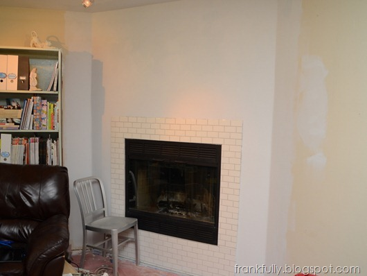 fireplace wall primed