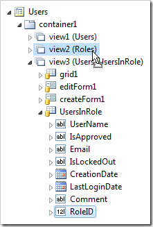 Dropping 'RoleID' data field of UsersInRole view onto 'view2' in Users page.