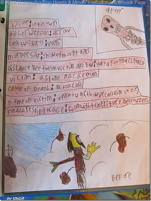 Peter's notebook  page on Otzi the frozen mummy at Homeschooling Hearts & Minds