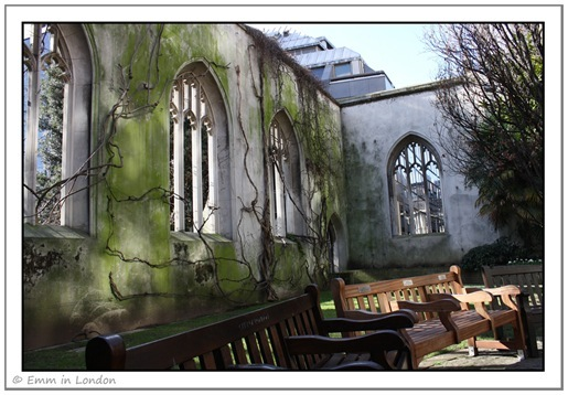 City of London benches in St Dunstan in the East