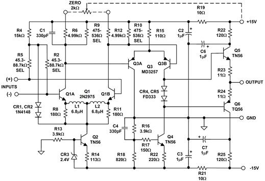 The ADI model 121 wideband DC op amp
