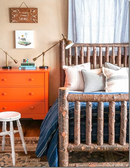 cabin bedroom rustic log bed frame twig tree branch orange dresser turned wood stool cococozy audrey hall