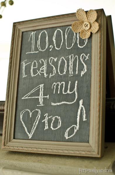 DIY Distressed Frame Chalkboard | milk paint, burlap flower, chalkboard | personallyandrea.com