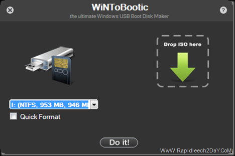 Download WintoBootic V1.2 - Drag & Drop Easy way to Make/create bootable NTFS USB/Flash Disk. Burn Windows 7/8/Win PE2/Win PE3 from ISO Drag & Drop