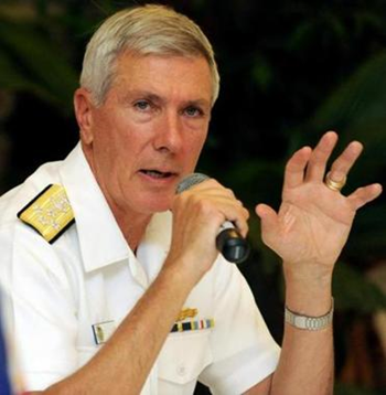 Admiral Samuel J. Locklear III met privately with security and foreign policy specialists at Harvard and Tufts universities on 7-8 March 2013. He said the biggest long-term security threat in the Pacific region is climate change. Photo: Jay Directo / AFP / Getty Images