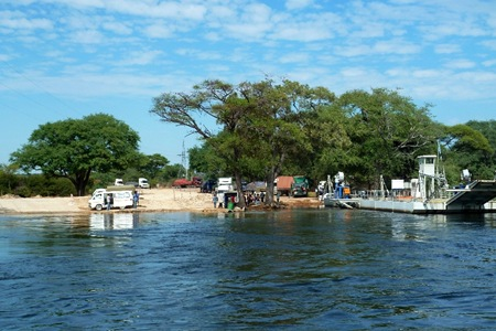 Kazangula, the border town of Botswana and Zambia.