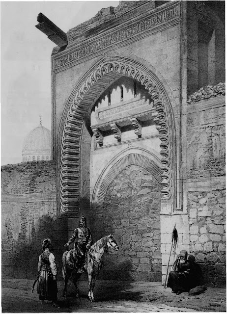 Entrance to the palace of Sultan Baybars, 13th century. Prisse intended to convey the nature of princely dwellings in this period when peace was fragile and the state apparatus vulnerable to sedition. The palace's position between the citadel and the city provided a strategic buffer.