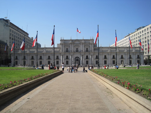 The Palacio de La Moneda presidential palace.