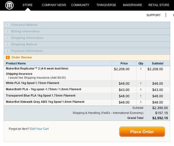 6 注文確定画面 右下のPlace Orderをクリックすると確定します