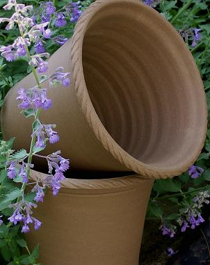 The rope trim on these terra cotta pots is a great embellishment. (benwolffpottery.com)