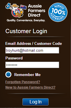 Logging in to Aussie Farmers Direct