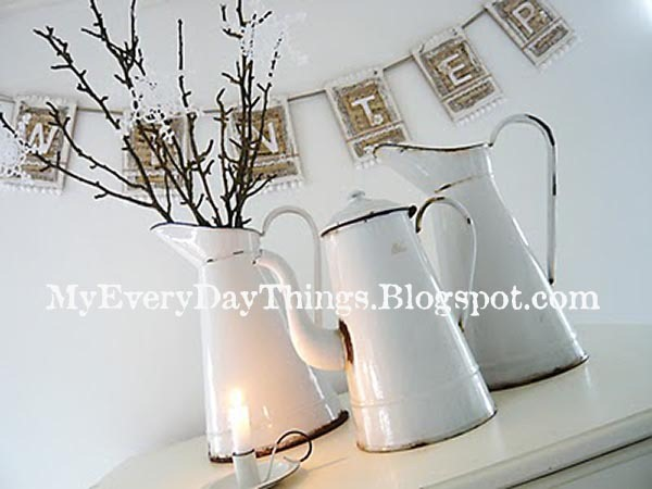 Winter White Decoration Enamel Vases