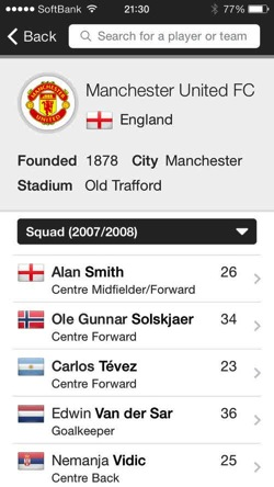 Ifdb international football database ios2