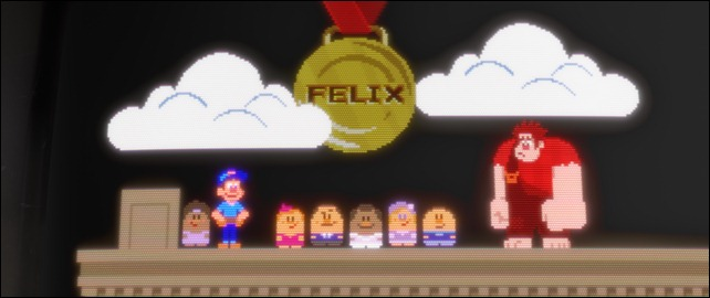 """WRECK-IT RALPH""   (L-R) FELIX, the NICELANDERS and RALPH in the 8-bit video game world of Fix-It Felix, Jr. ©2012 Disney. All Rights Reserved."